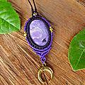 Collier Féerique Lune pierre Charoïte violette Naturelle bijoux fait <b>main</b> femme ésotérique