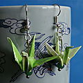 Vendues - origami - boucles d'oreilles grues vertes 03-13