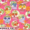 Tissu Mini Mexican Skulls Pink pour robe pin Up, jupe circle, chemise, bustier...