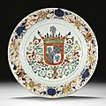 A rare and large 'chinese imari' armorial charger for the portuguese market, qing dynasty, kangxi period, circa 1700-1720