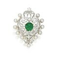 Gold, platinum, emerald, pearl and diamond brooch, <b>Marcus</b> & Co