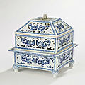 An <b>archaistic</b> three-part blue and white openwork censer and cover, Qing Dynasty, Kangxi Period (1662-1722)