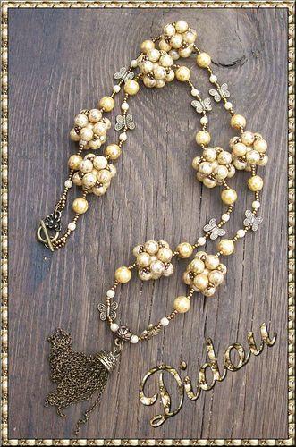 Sautoir cubito perles marbrées miel