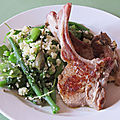 Green couscous salad with lamb chops