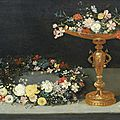 Workshop of Jan Brueghel the Younger, <b>Carnations</b>, jasmine and roses in a gilt tazza with a garland of flowers on a table-top