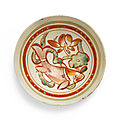 A very rare <b>polychrome</b> painted 'Cizhou' bowl with fish, Jin dynasty, 12th-13th century