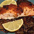 Paves de saumon en croute de pain d'epices
