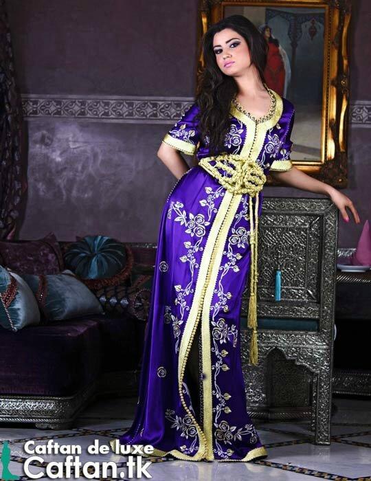 Caftan marocain mauve doré fascinant - Caftan marocain haute couture ...