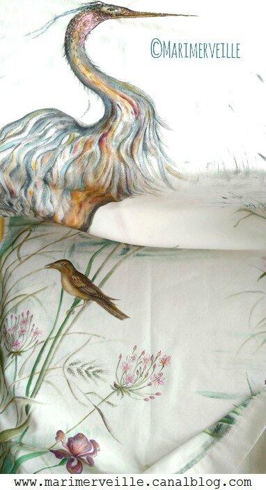 toile peinte à la main conte textile marimerveille