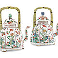 A pair of famille <b>verte</b> teapots and covers, Kangxi period (1662-1722)