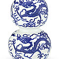 A blue and white '<b>dragon</b>' <b>double</b>-<b>gourd</b> <b>vase</b>, Mark and period of Jiajing (1522-1566)