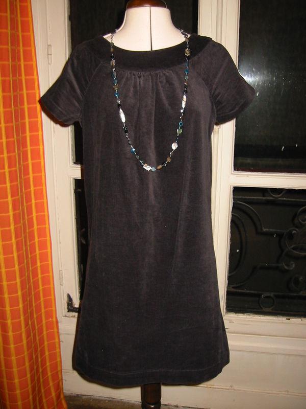 robe velours gris