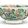 A Famille-verte '<b>Landscape</b>' bowl, Qing dynasty, Kangxi period (1662-1722)