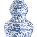 A blue and white '<b>dragon</b>' <b>double</b>-<b>gourd</b> <b>vase</b>, Ming dynasty, 16th century