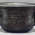 An unusual silver-lined carvedzitan<b>archaistic</b> cup, 18th-early 19th century