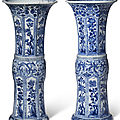 Two blue and white <b>beaker</b> vases, Kangxi period (1662-1722)