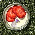 <b>Pana</b> <b>cotta</b> à la fleur de glycine et aux fraises