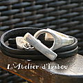 Bracelet <b>demi</b> <b>jonc</b> double tour de cuir noir fermoir toggle rond