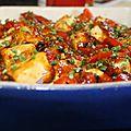 tofu grillé épicé , poivrons rouges <b>aigre</b> <b>doux</b>.