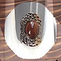 <b>Bague</b> <b>Ovale</b> Paavan Perle Marron Métal Couleur Argenté Gris Foncé T56_57