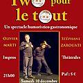 Samedi 10 décembre, TWO POUR LE TOUT à l'IMPRIMERIE