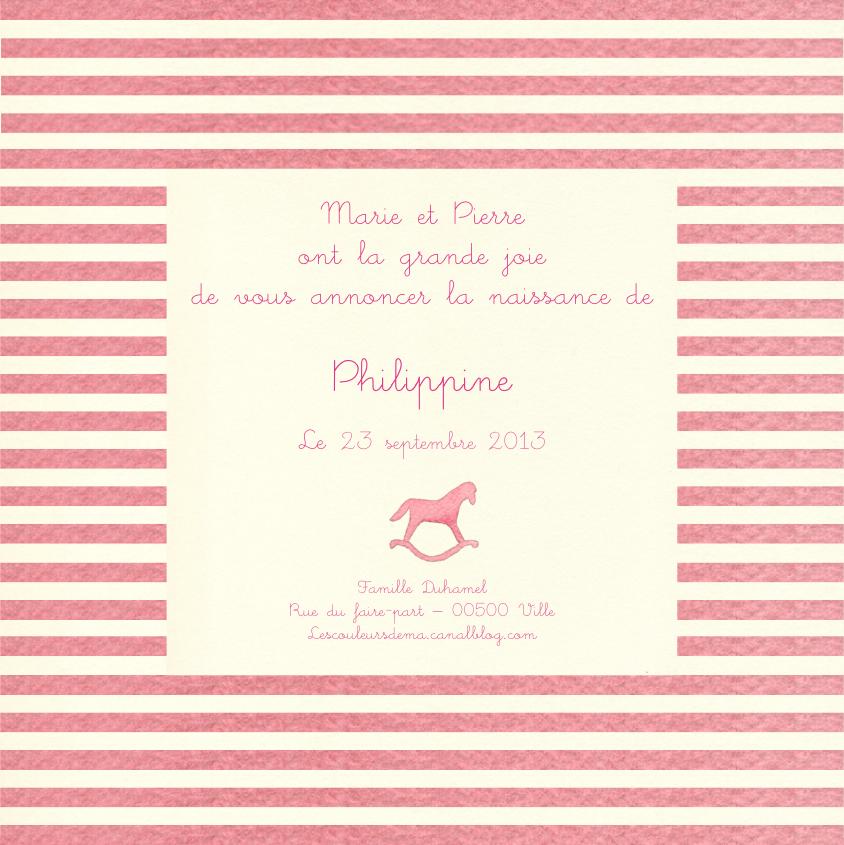 FP rayures horizontales rose et blanc cassé et cheval à bascule modèle Philippine
