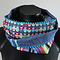 Snood double-tour matriochka bleu