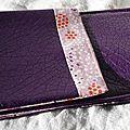 40. pochette I-phone simili violet et retour coton