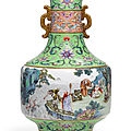 An imperial 'famille rose' 'eighteen luohan' vase , qing dynasty, qianlong period (1736-1795)