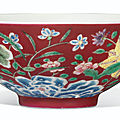 A rare ruby-ground <b>falangcai</b> 'floral' bowl, Yongzheng four-character mark and of the period (1723-1735)