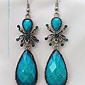 Boucles d'Oreilles Style Tibétain <b>Araignée</b> Nanga Perle Strass Turquoise Argent du Tibet