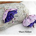<b>Boucles</b> <b>d</b>'<b>oreilles</b> fleur <b>rose</b> et violet en satin et tissu étoile