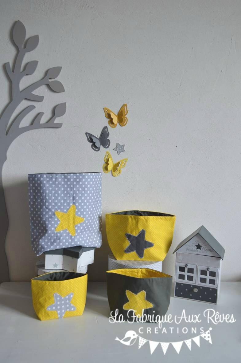 lot 4 pochons rangement étoiles jaune gris blanc - décoration ...