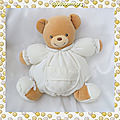 Doudou Peluche <b>Ours</b> Beige Boule Corps Tissu Blanc Collection Dragée Kaloo
