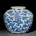 A large blue and white '<b>Three</b> <b>friends</b> <b>of</b> <b>winter</b>' jar, Jiajing six-character mark in underglaze blue and <b>of</b> the period (1522-1566