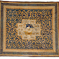 The eyrie-rockefeller 'buddhist lion' carpet, ningxia, north china, qing dynasty, kangxi period, first quarter 18th century