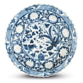 Blue and white barbed 'banana plant and lotus' charger, Yuan dynasty © The Trustees of the British Museum