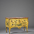 Importante commode en vernis parisien. Attribuée à <b>Adrien</b> <b>Delorme</b>. Époque Louis XV, vers 1755