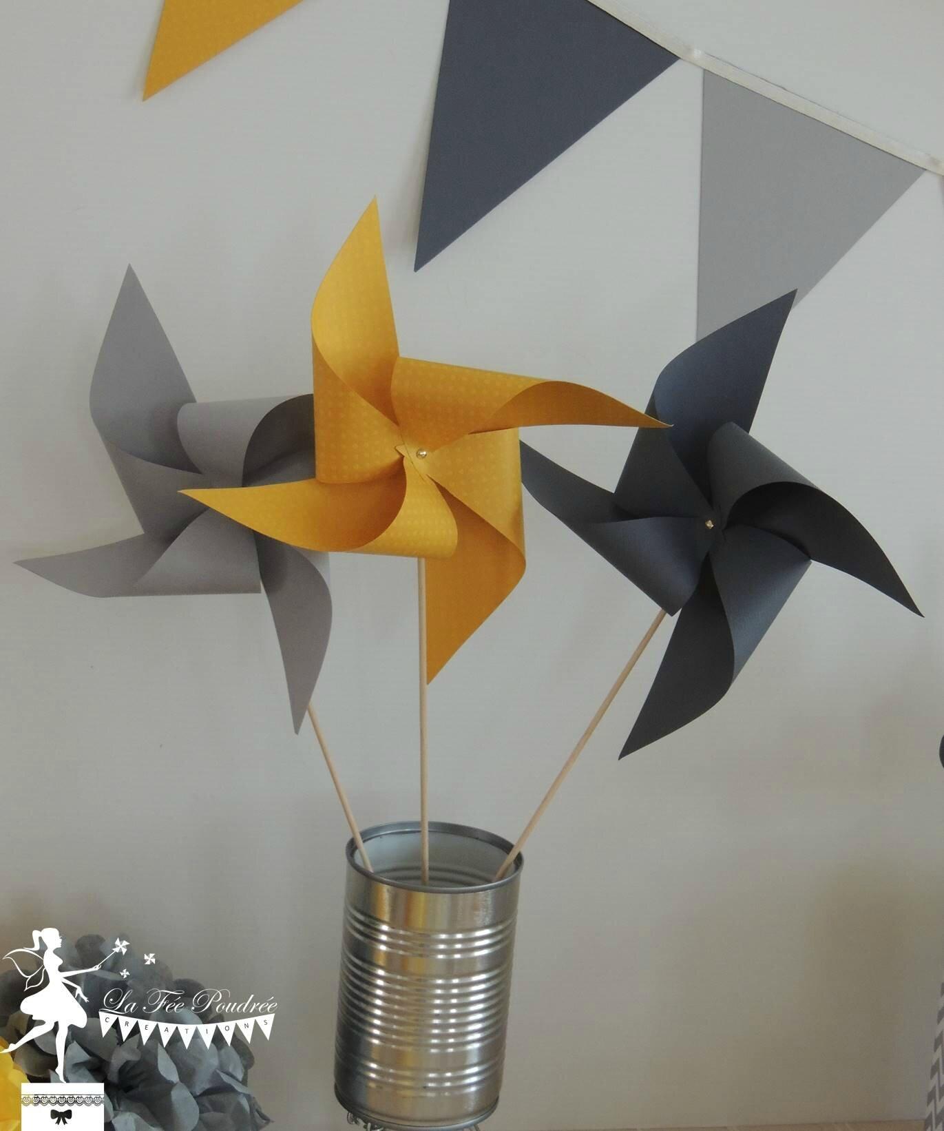 moulin à vent jaune gris décoration mariage baby shower baptême