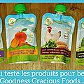 J'ai testé...les gourdes pour bébé goodness gracious foods! {concours terminé}