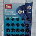 Bouton pression à coudre noir 6-11 mm