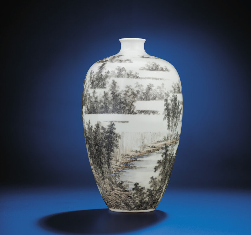 A fine grisaille-decorated 'landscape' vase, Republican period, early 20th century