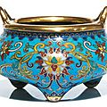 Brûle-parfum tripode en bronze doré et émaux cloisonnés, chine, marque et époque qianlong