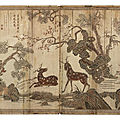 A rare inscribed and dated six-panel lacquer screen, dated by inscription to the sixth year of the Wanli period, corresponding t