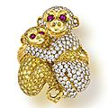 A colored diamond and diamond <b>monkey</b> brooch