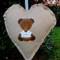 coussin coeur ours personnalisable