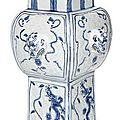 A very rare relief-moulded blue and white porcelain vase, '<b>fang</b> <b>gu</b>', China, Wanli six-character mark and of the period