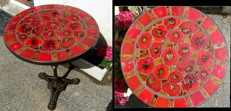 Bérengère Mosaique Table ronde Coquelicots (1) - Photo de Créations ...