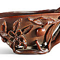 A rhinoceros horn 'Chilong' libation cup, 17th-18th century
