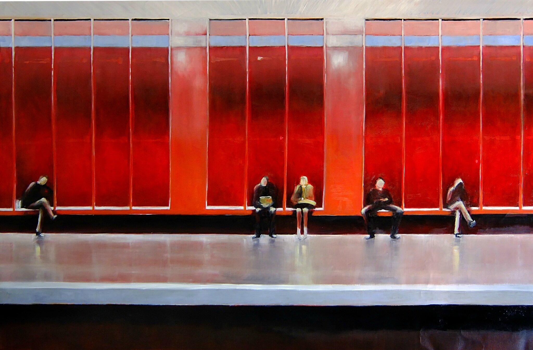 K'nowhere 64, station nation, mars 2016, huile sur toile, 155 x 108 cm